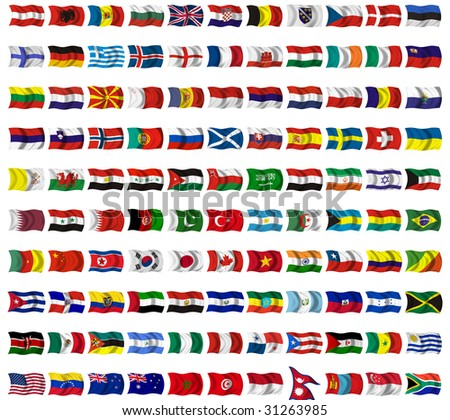Collection of flags from around the world