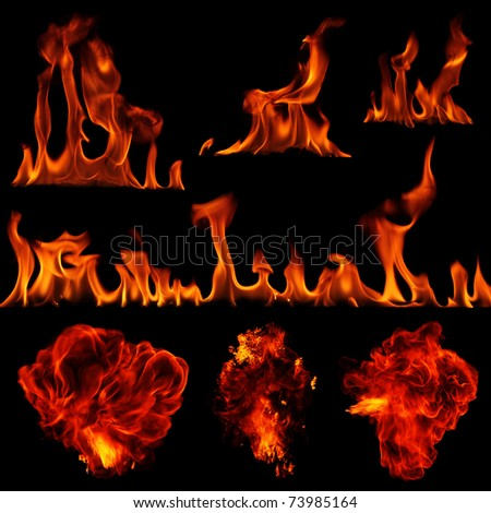 Collection of flames isolated on black - stock photo