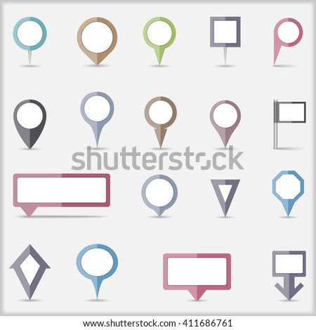 Collection of flat colored map markers - stock photo