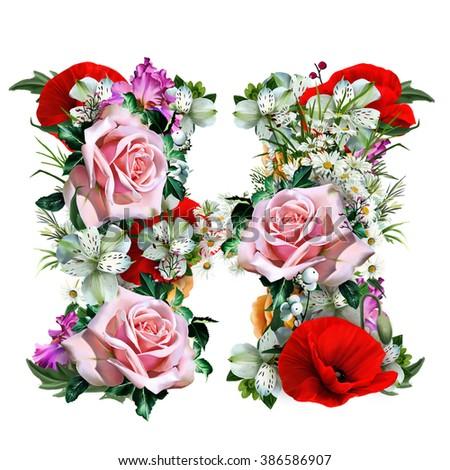 Collection Floral Letters Letter H Suitable Stock Illustration