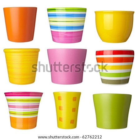 collection of   flowerpots  on white background. each one is shot separately - stock photo