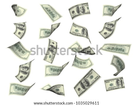 Collection of flying banknotes of hundred dollars. View from different angles. Isolated on white background. 3d render
