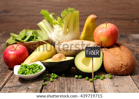 collection of food high in fiber - stock photo