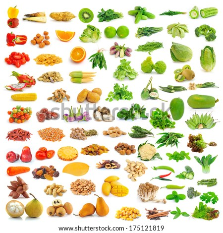 collection of food isolated on white background - stock photo