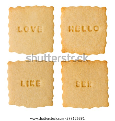 Collection of four biscuits with love, hello, like, sex signs isolated on white background - stock photo