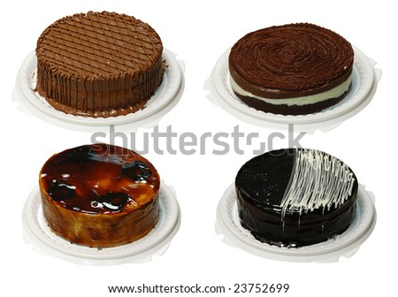 Collection of four cake with cream. Look for more in MY PORTFOLIO - stock photo