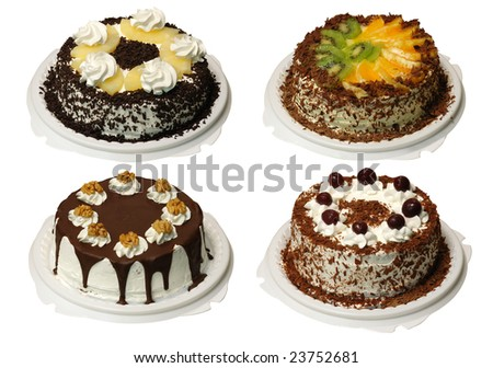 Collection of four cake with cream, with clipping path. Look for more in MY PORTFOLIO - stock photo