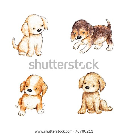 collection of four cute puppies on white background - stock photo