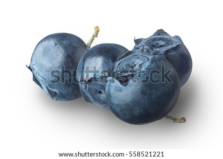 Collection of four different views of blueberries with no shadows on white background