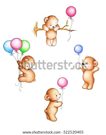 Collection of four drawings of teddy bears with balloons on white background - stock photo