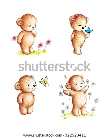 Collection of four drawings of teddy bears with flowers and butterflies on white background