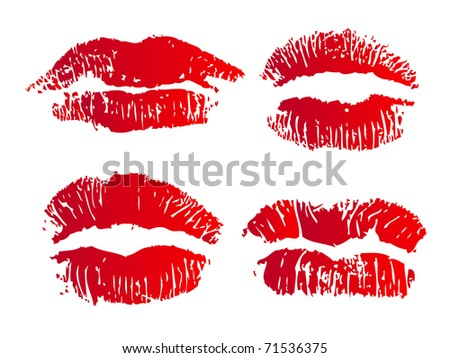 Collection of four illustrated lips on white background - stock photo