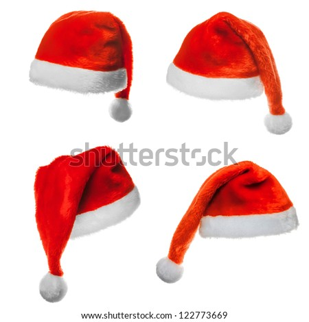 Collection of four santa hats  isolated on white - stock photo