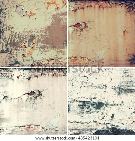 Collection of four square images with vintage grunge rusty old metal texture
