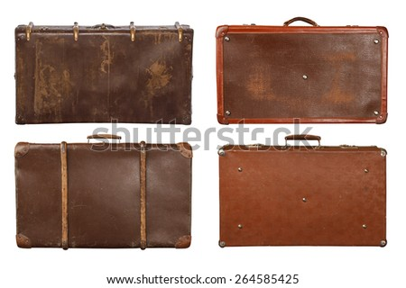 Collection of four vintage suitcases isolated on white background - stock photo