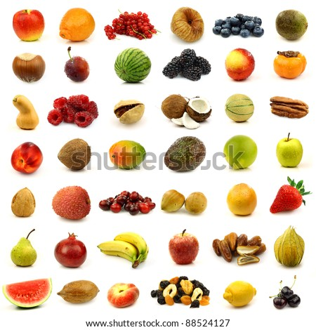 collection of fresh and colorful fruits and nuts  isolated on white - stock photo