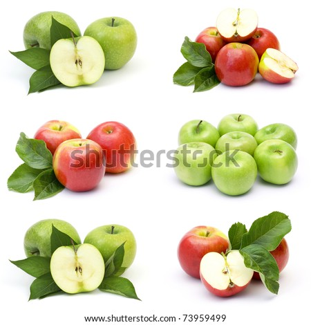 collection of fresh apple fruits - stock photo