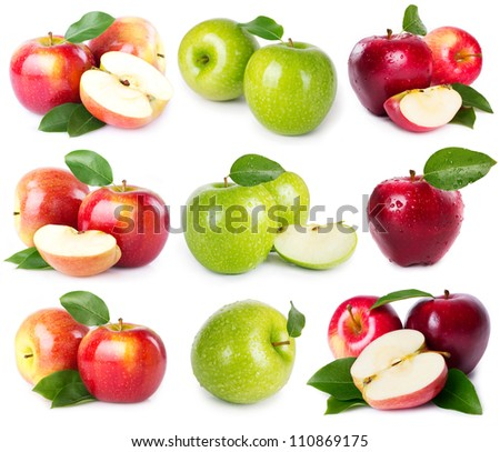 collection of fresh apples isolated on white - stock photo