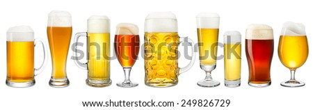 Collection of fresh beer on white background - stock photo