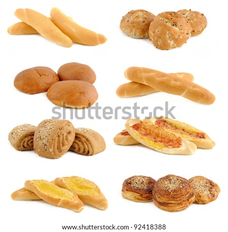 collection of fresh bread - isolated on white background - stock photo