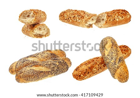Collection of Fresh Buns. Isolated over the white background. - stock photo