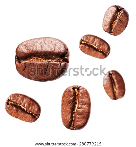 Collection of Fresh Coffee beans isolated on white background, closeup, macro - stock photo