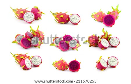 collection of fresh dragon fruit on white background.