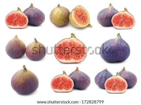 Collection of fresh fig fruits isolated on white background - stock photo