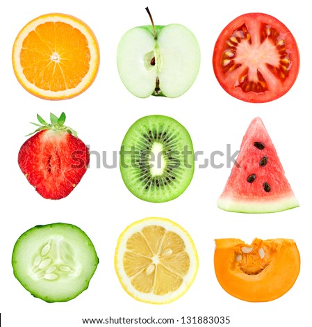 Collection of fresh fruit and vegetable slices on white background. Orange, kiwi, lemon, apple, strawberries, watermelon, cucumber, tomato and pumpkin - stock photo