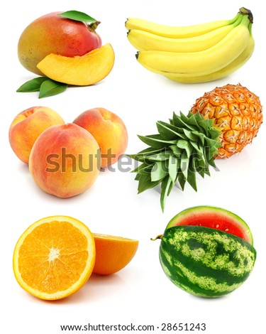 collection of fresh fruit isolated on white background - stock photo