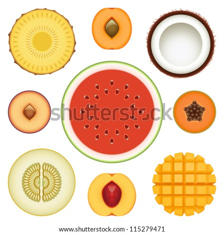 Collection of fresh fruit slices - Set 2 - stock photo