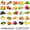 collection of fresh fruits and vegetables isolated on white - stock photo