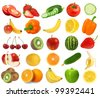 collection of fresh juicy fruits and berries isolated on white background - stock photo