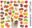 collection of fresh juicy fruits on white background - stock photo