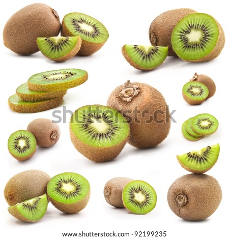 Collection of fresh kiwi isolated on white background, includes soft shadows - stock photo