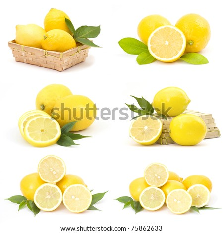 collection of fresh lemons - stock photo