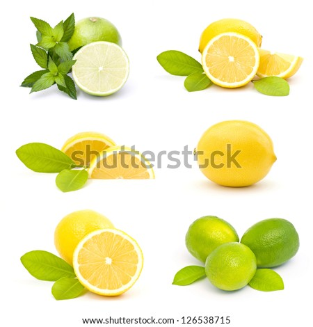 collection of fresh limes and lemons - collage - stock photo