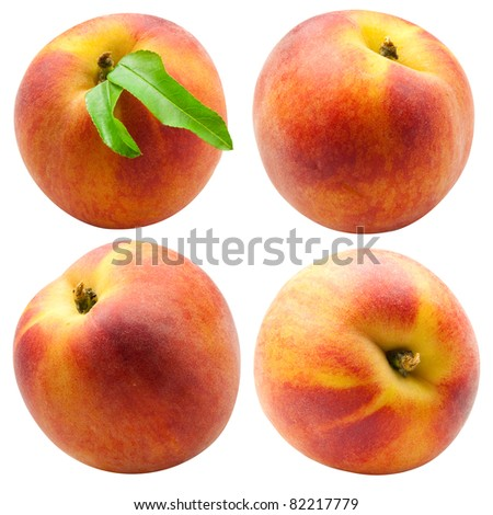 collection of fresh peach fruits with green leafs isolated on white background - stock photo