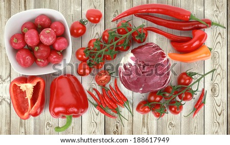 Collection of fresh red vegetables on white wood background, tomatoes, peppers, cabbage, radish, top view - stock photo