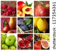 Collection of fresh ripe fruits and berries. - stock photo