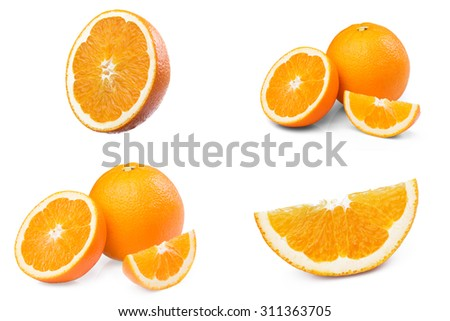 Collection of Fresh Ripe Orange fruit half slice isolated on white background - stock photo