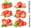 collection of fresh tomato with leaves isolated on white background - stock photo