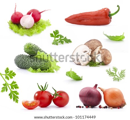 Collection of fresh vegetables, isolated on white background - stock photo