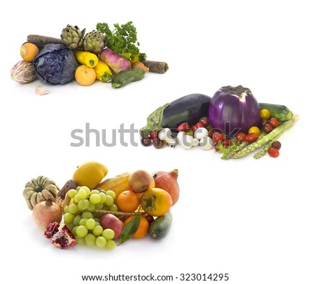 Collection of Fresh vegetables  on White background  - stock photo