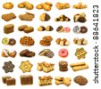 collection of freshly baked cookies,waffles,donuts and some other pastry on a white background - stock photo