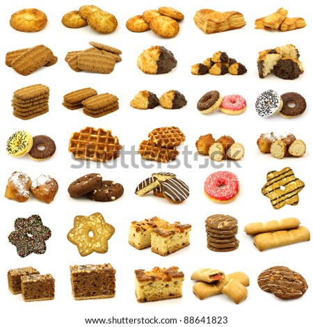 collection of freshly baked cookies,waffles,donuts and some other pastry on a white background