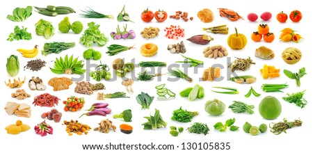 collection of fruit and Vegetables - stock photo