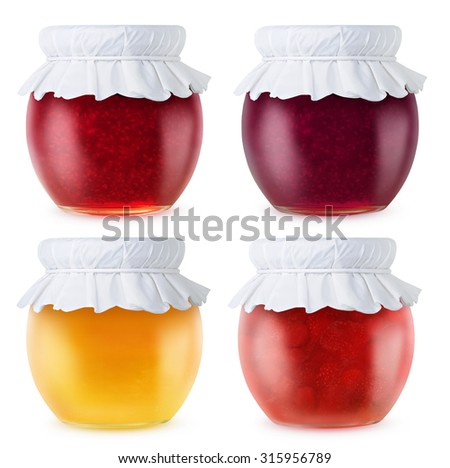 Collection of fruit jam jars of different colors isolated on white background, with clipping path - stock photo