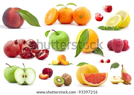 Collection of fruit on a white background - stock photo
