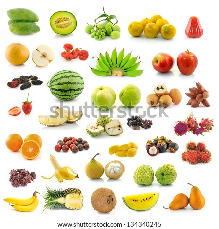 collection of fruit on white background